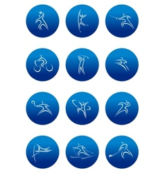 Blue round sporting icons vector