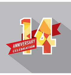 14th years anniversary celebration design vector