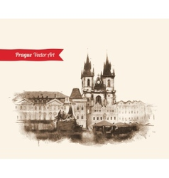 Old prague view vector