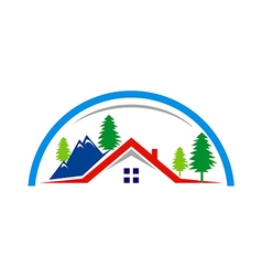Mountain village cottage house logo vector