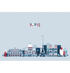 Paris france city skyline flat trendy vector