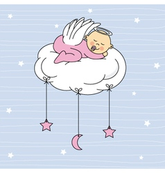 Baby girl sleeping on a cloud vector
