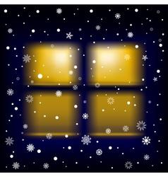 Snow night window vector