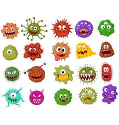 Cartoon bacteria collection set vector