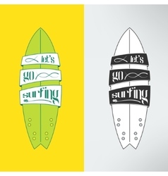 Surfboard in cartoon graffiti design vector