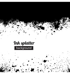 Grunge black ink splattered background vector
