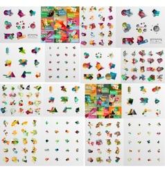 Super mega set of abstract geometric paper graphic vector