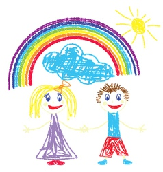 Crayon pained kids and rainbow vector
