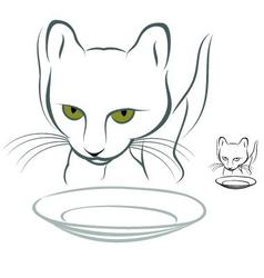 Hungry cat vector