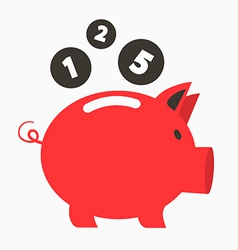 Money red pig bank with coins vector