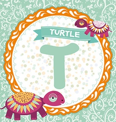 Abc animals t is turtle childrens english alphabet vector