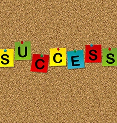 Colored sheets of paper with word success pinned vector