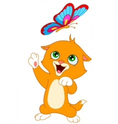 Kitten and butterfly vector