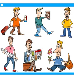 Men characters set cartoon vector