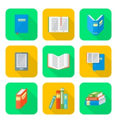 Colored flat style books icons set vector