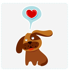 Cute cartoon dog is thinking to love vector