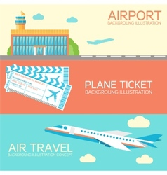 Flat building airport with flying plane tour and vector