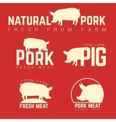 Set of pork emblems logotypes and labels isolated vector