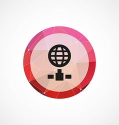 Internet circle pink triangle background icon vector