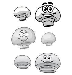 Cute cartoon champignon mushrooms vector