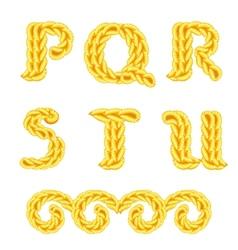 Knitted alphabet p u vector