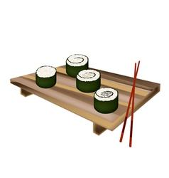 Tuna sushi roll maguro norimaki and salmon makizu vector