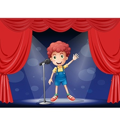 A boy performing on the stage vector