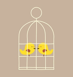 Lovely birds in cage vector