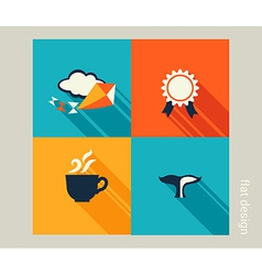 Business icon set vacation holiday recreation flat vector