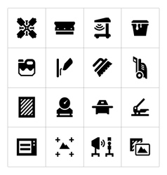 Set icons of screen printing vector