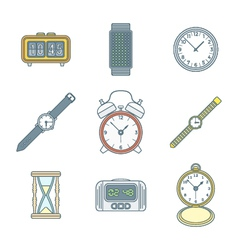 Colored outline various watches clocks icons set vector