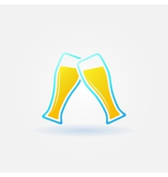 Two glasses of beer bright icon vector