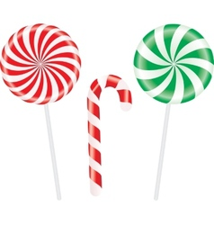 Set of colorful spiral candies lollipops vector