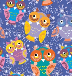 Seamless pattern with owls and snowflakes on vector