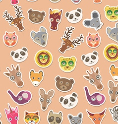Set of funny animals muzzle seamless pattern pink vector