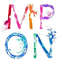 Paint splash font mnop vector
