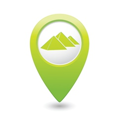 Pyramid icon on map pointer green vector