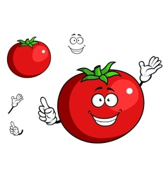 Happy waving tomato with a cute smile vector
