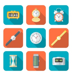 Colored flat style various watches clocks icons vector