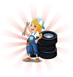 A female mechanic in front of the tires vector