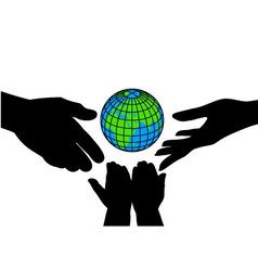Icon silhouettes of hands and the planet vector