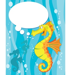 Talking sea horse vector