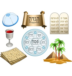 Passover symbols pack vector