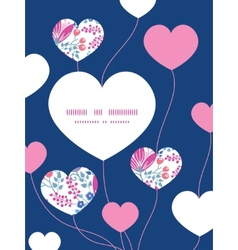 Pink flowers heart symbol frame pattern vector