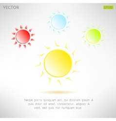 Bright sun icon in modern design hot solar emblem vector