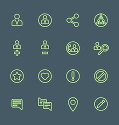 Green outline various social network actions icons vector
