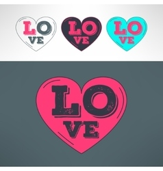 Hearts set for tshirt print design love vector