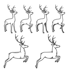 Christmas reindeer in different poses vector