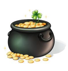 A black pot with coins vector