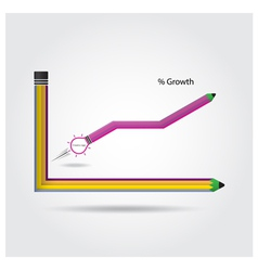 The pencils and graph increase on background vector